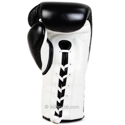 Fairtex Lace-up Sparring Boxing Gloves Black-White