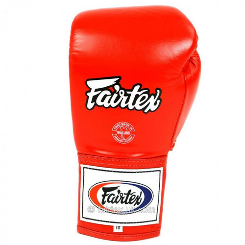 Fairtex Pro Lace Up Red Boxing Gloves