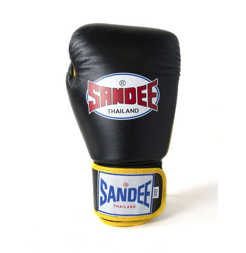 Sandee Authentic Velcro Black & Yellow Leather Boxing Gloves