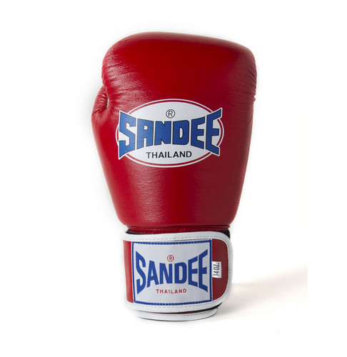 Sandee Two Tone Red & White Leather Velcro Boxing Gloves