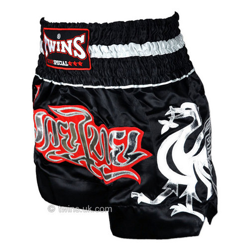 Twins Sating Muay Thai Shorts Black-Silver