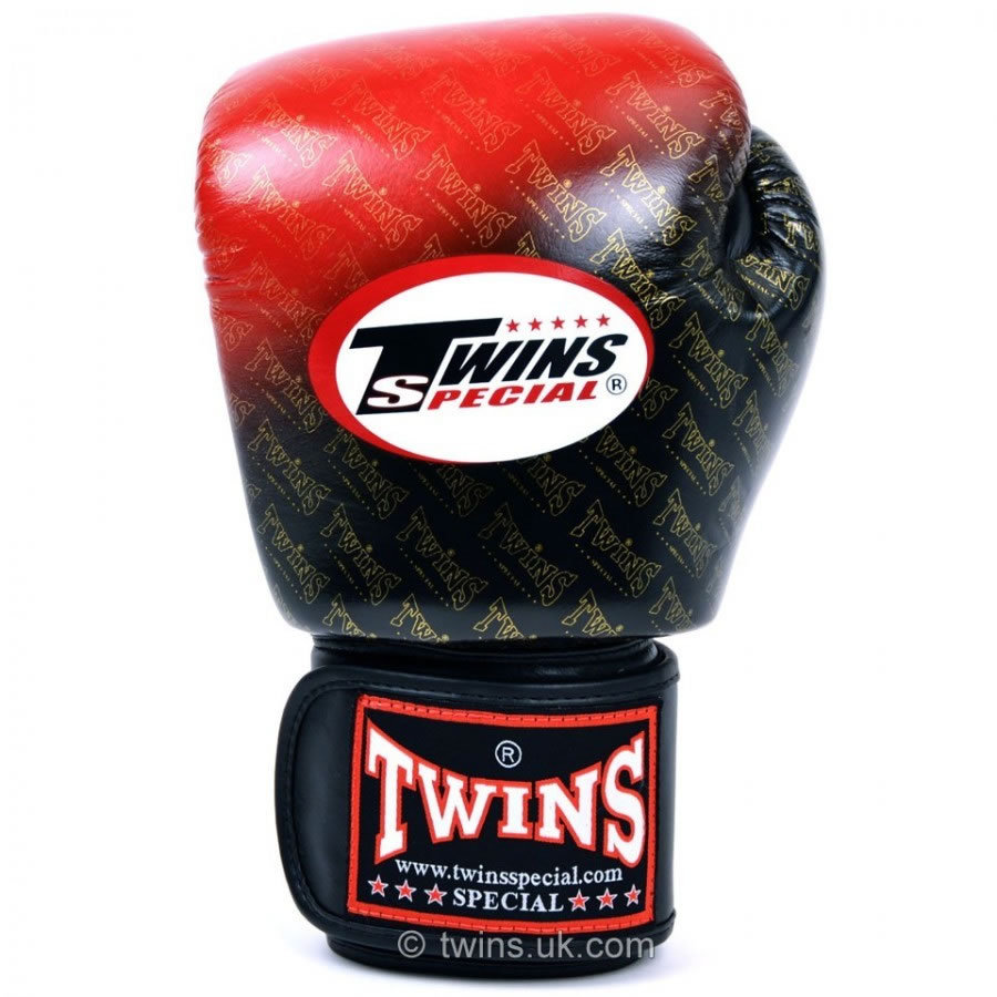 Shiv Naresh Teens Boxing Gloves 12oz: Twins Colour Fade Red & Black Velcro Boxing Gloves