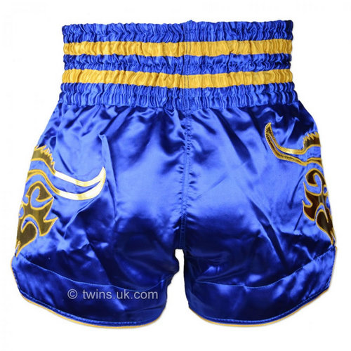 Twins Satin Muay Thai Shorts Blue & Gold