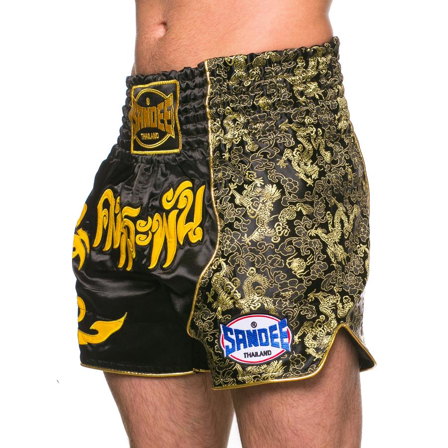 Sandee Unbreakable Black//Yellow Muay Thai Boxing Shorts