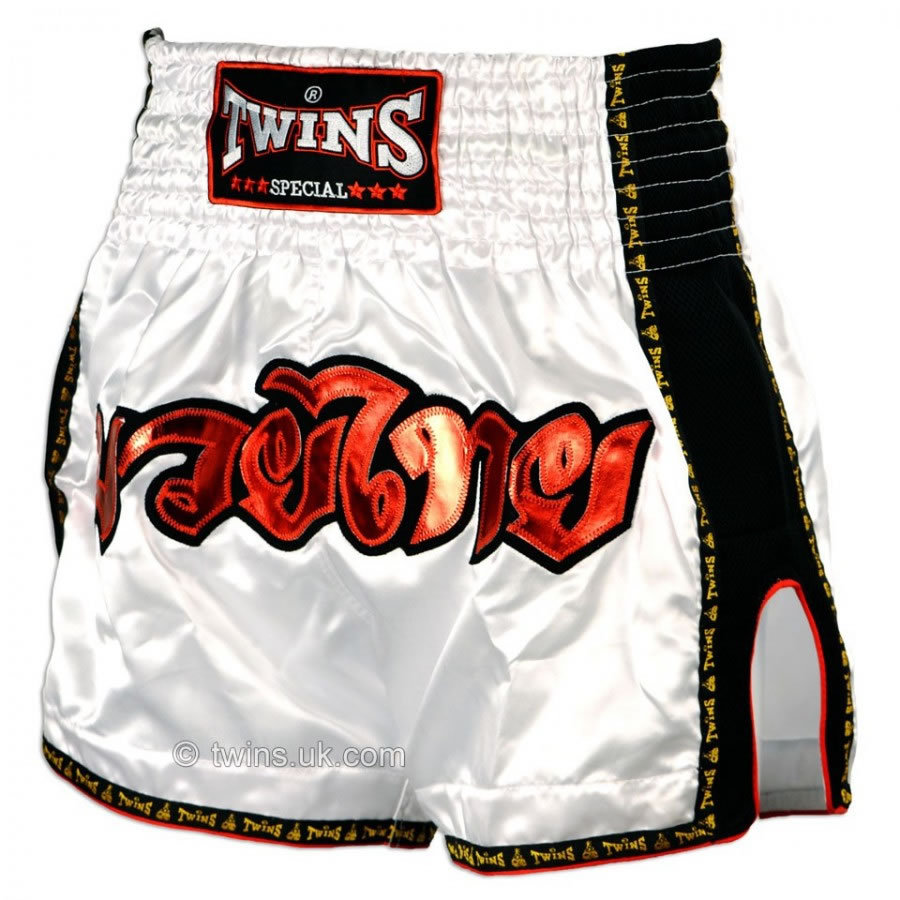 TWS-912 Twins Special White Retro Muay Thai Boxing Shorts