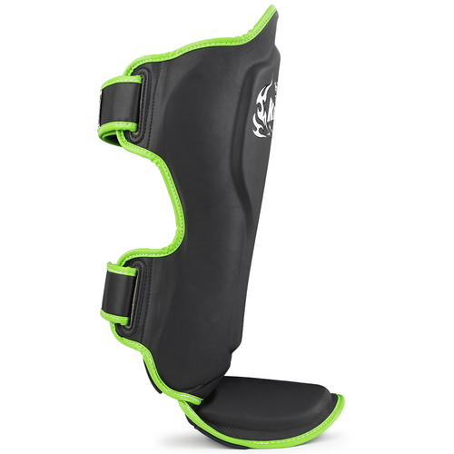 Top King Pro Semi-Leather Shin Pads Black & Green