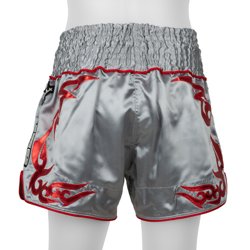 Top King Muay Thai Shorts Grey & Red